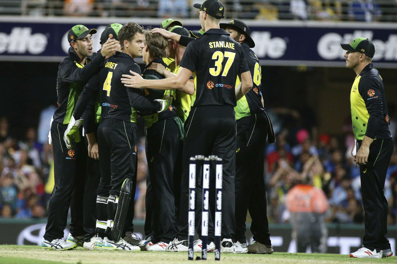 Aussies rejoiced as they got KL Rahul and Virat Kohli dismissed cheaply. Rahul made 13 while Kohli was dismissed on just 4 runs. Both the batsmen were dismissed by spinner Adam Zampa. (Image: AP)