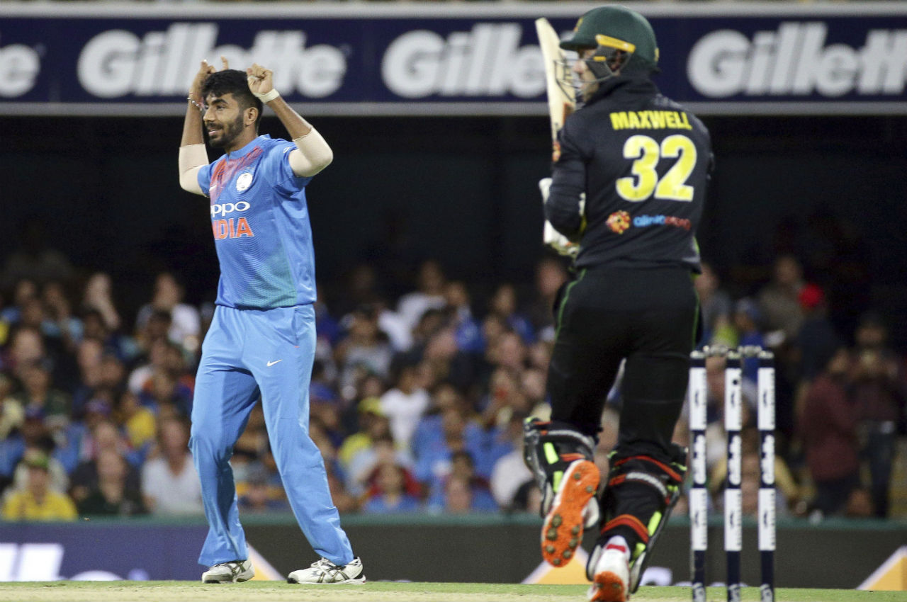 Jasprit Bumrah took the wicket of Maxwell as the play resumed after the rain delay. Maxwell made 46 off 24 deliveries. Bumrah gave just 6 runs in the 17th over as Australia finished the innings on 158/4. With rain interruption DRS calculation was brought into effect and India was set a target of 174 in 17 overs. (Image: AP)