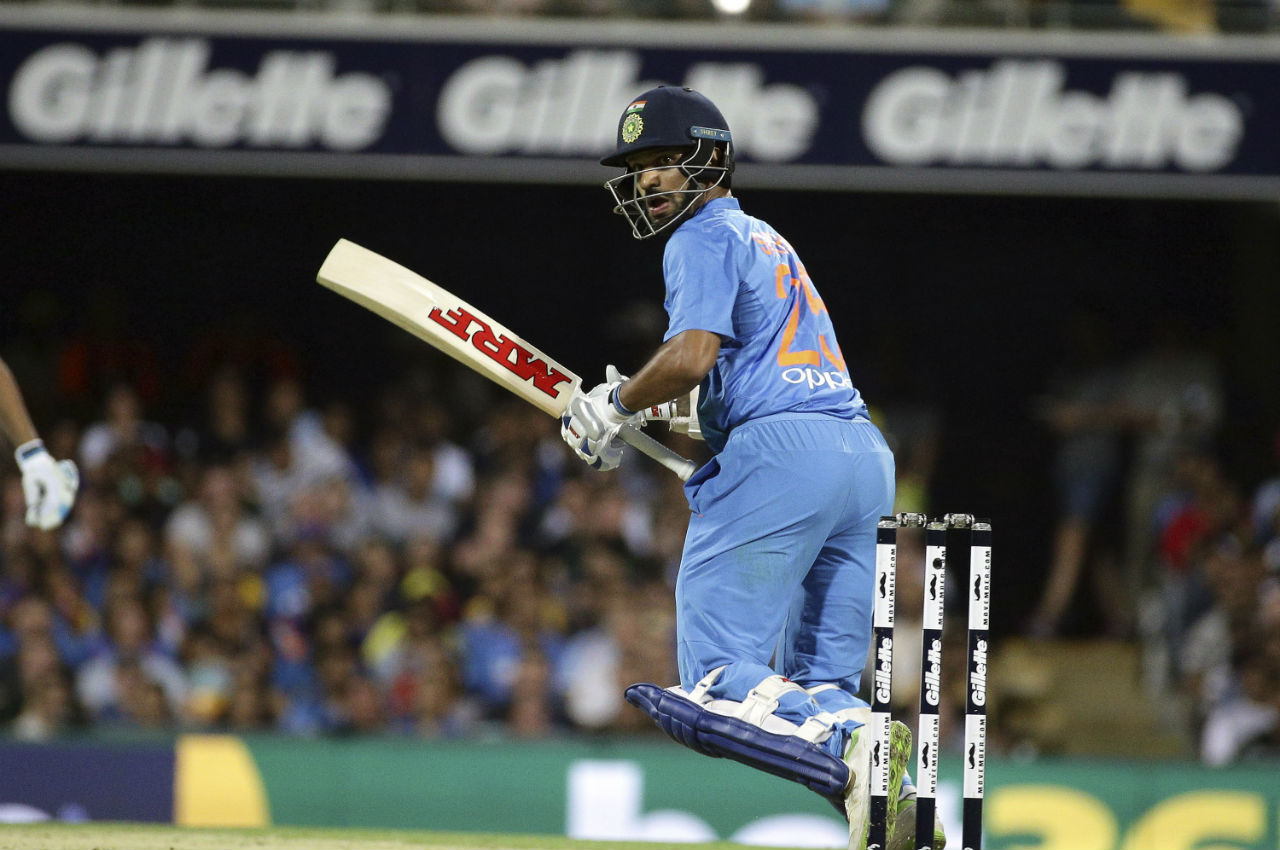 With Rahul and Kohli gone, Dhawan took the Indian innings forward as he slammed his 9th T20I fifty. (Image: AP)