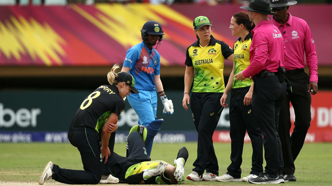 During the course of Indian innings Australia's explosive wicket-keeper batter Alyssa Healy suffered a minor injury and was advised rest after a collision with her Schutt while attempting a catch. (Image: www.icc-cricket.com)