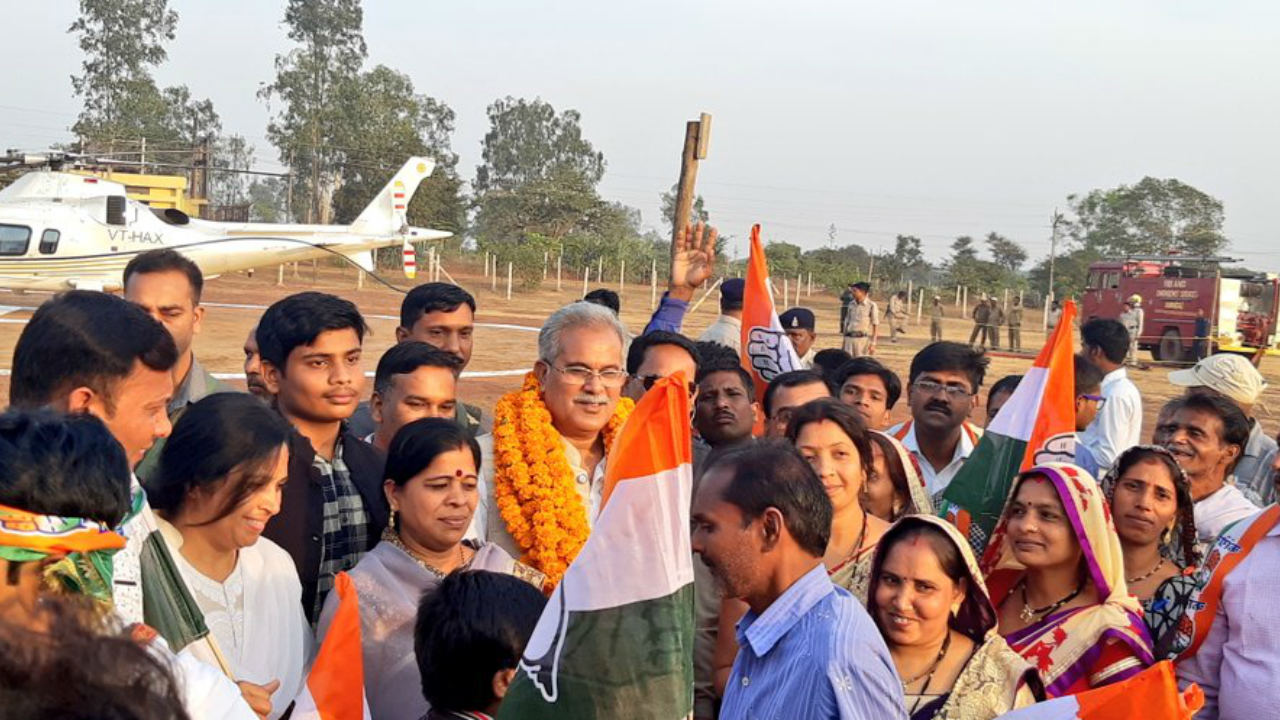Chhattisgarh Congress unit chief Bhupesh Baghel arrives in Patan on November 12 (Image: Twitter/@Bhupesh_Baghel)