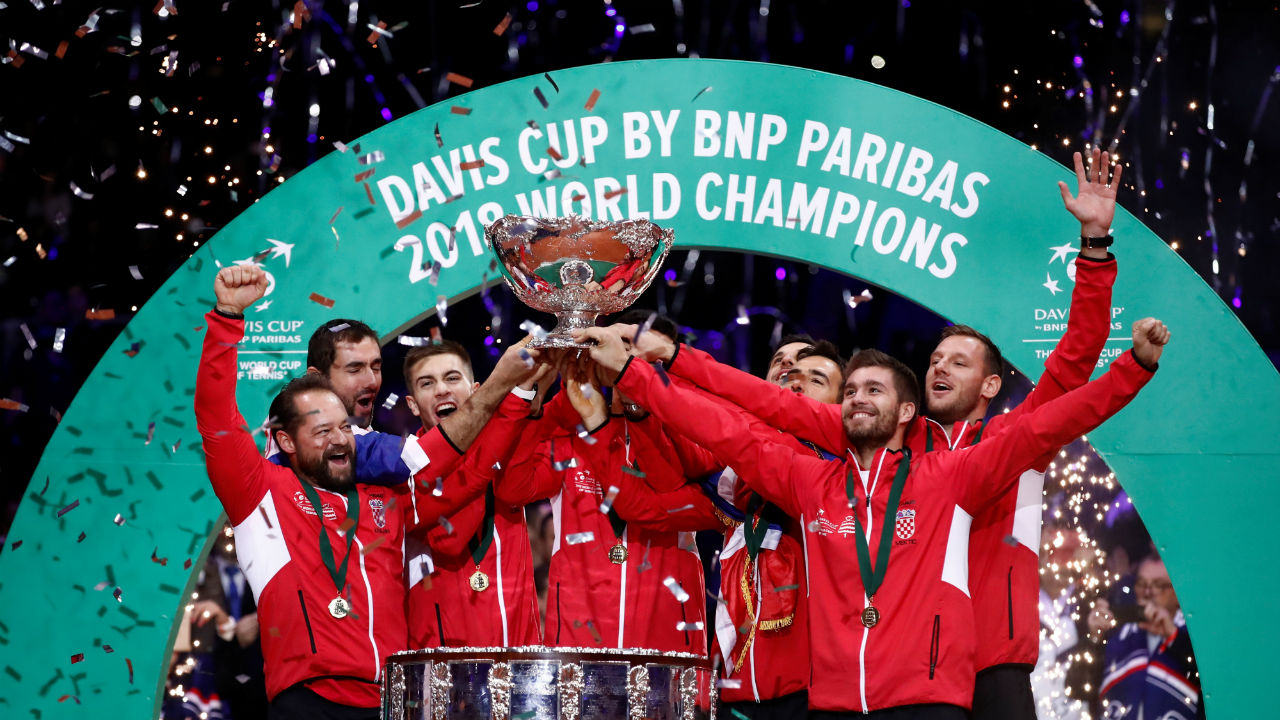 Croatia won the 2018 Davis Cup after beating France 3-1. This is Croatia's second title. Their maiden victory happened in 2005 when they overcame Slovakia. Marin Cilic clinched Croatia's title as he beat France's Lucas Pouille 7-6(3) 6-3 6-3 to give his side a decisive 3-1 lead in the final. (Image: Reuters)