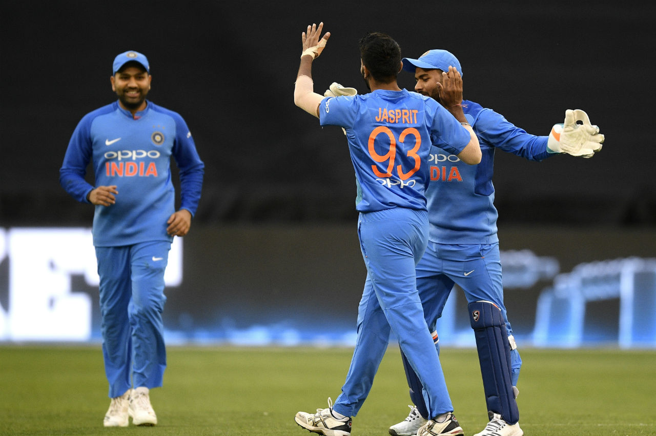 Jasprit Bumrah then got into action as he removed Marcus Stoinis. Bumrah tricked Stoinis with a bouncer bowled outside off and the batsman played an upper cut and hits it straight down the throat of Dinesh Karthik at deep point. (Image: AP)