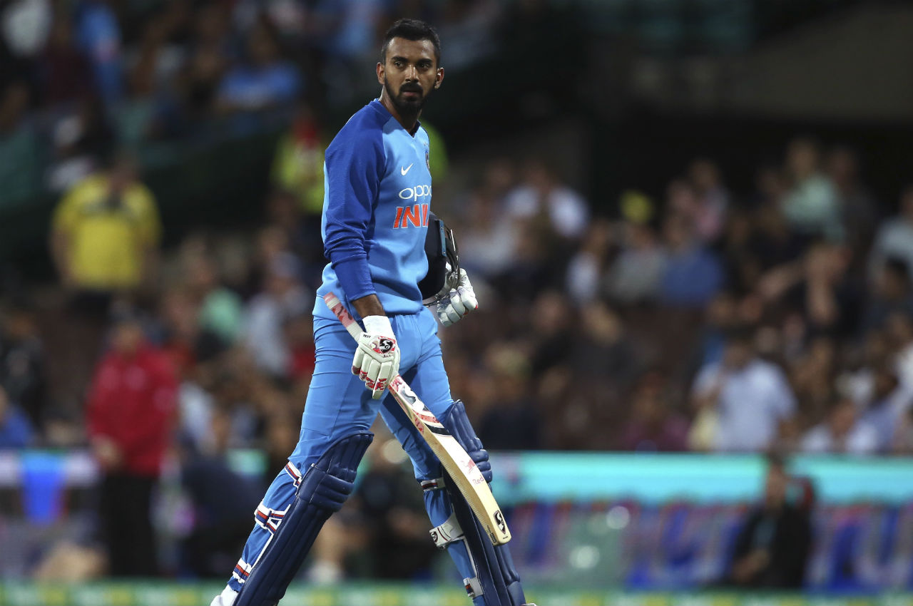 KL Rahul's poor run continued as he was dismissed by Glenn Maxwell on 14 on the last ball of the 14th over. Australia then dismissed Rishabh Pant on a golden duck on the first ball of fifteenth over by Andrew Tye. India's score at the fall of Pant's wicket read 108/4. (Image: AP)