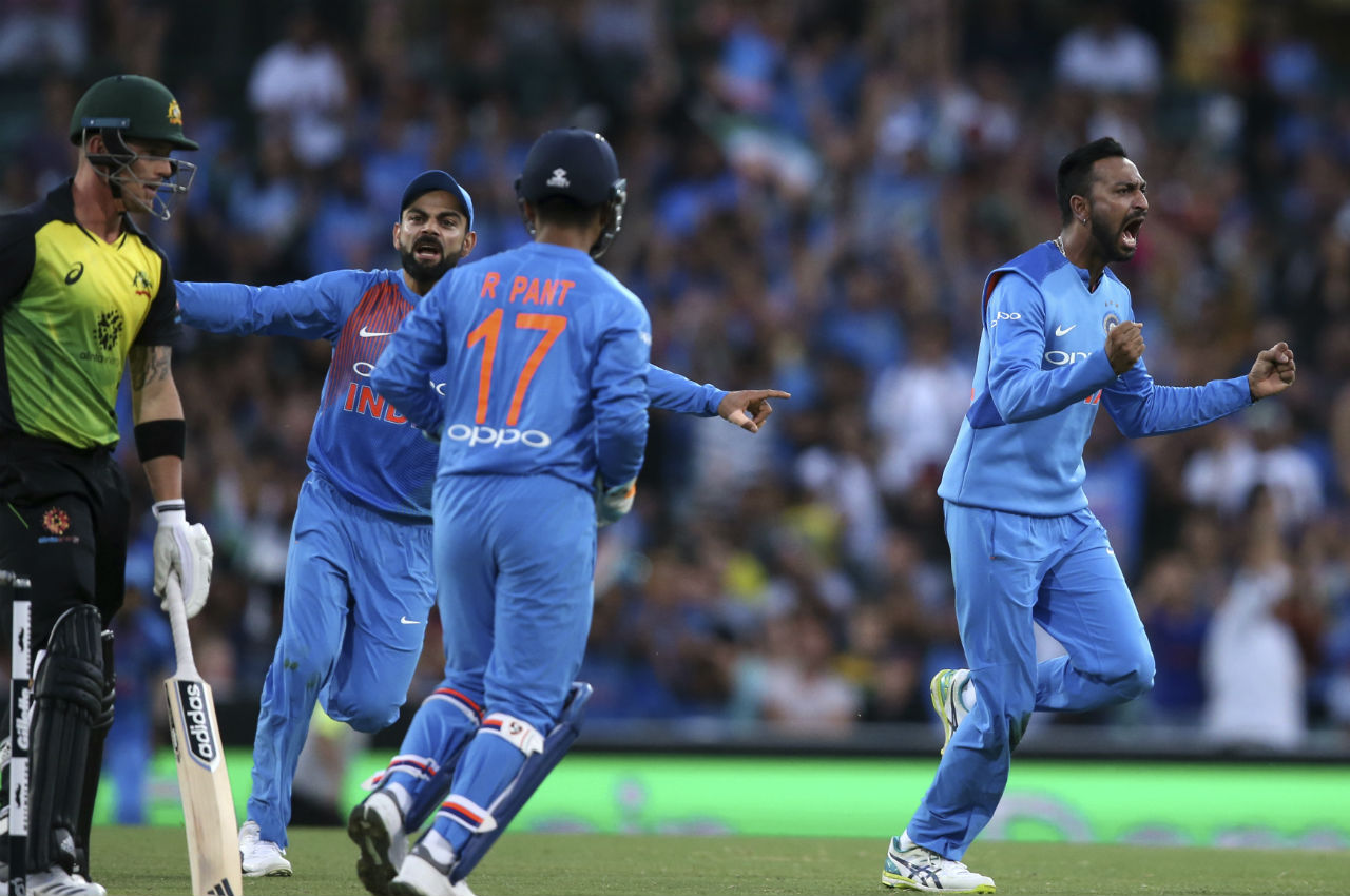 All-rounder Krunal Pandya pushed Australia further back as he picked up two wickets in two balls in the tenth over of the match. He trapped Short and Ben McDermott in front of the wickets to leave the home side reeling at 73/3. (Image: AP)