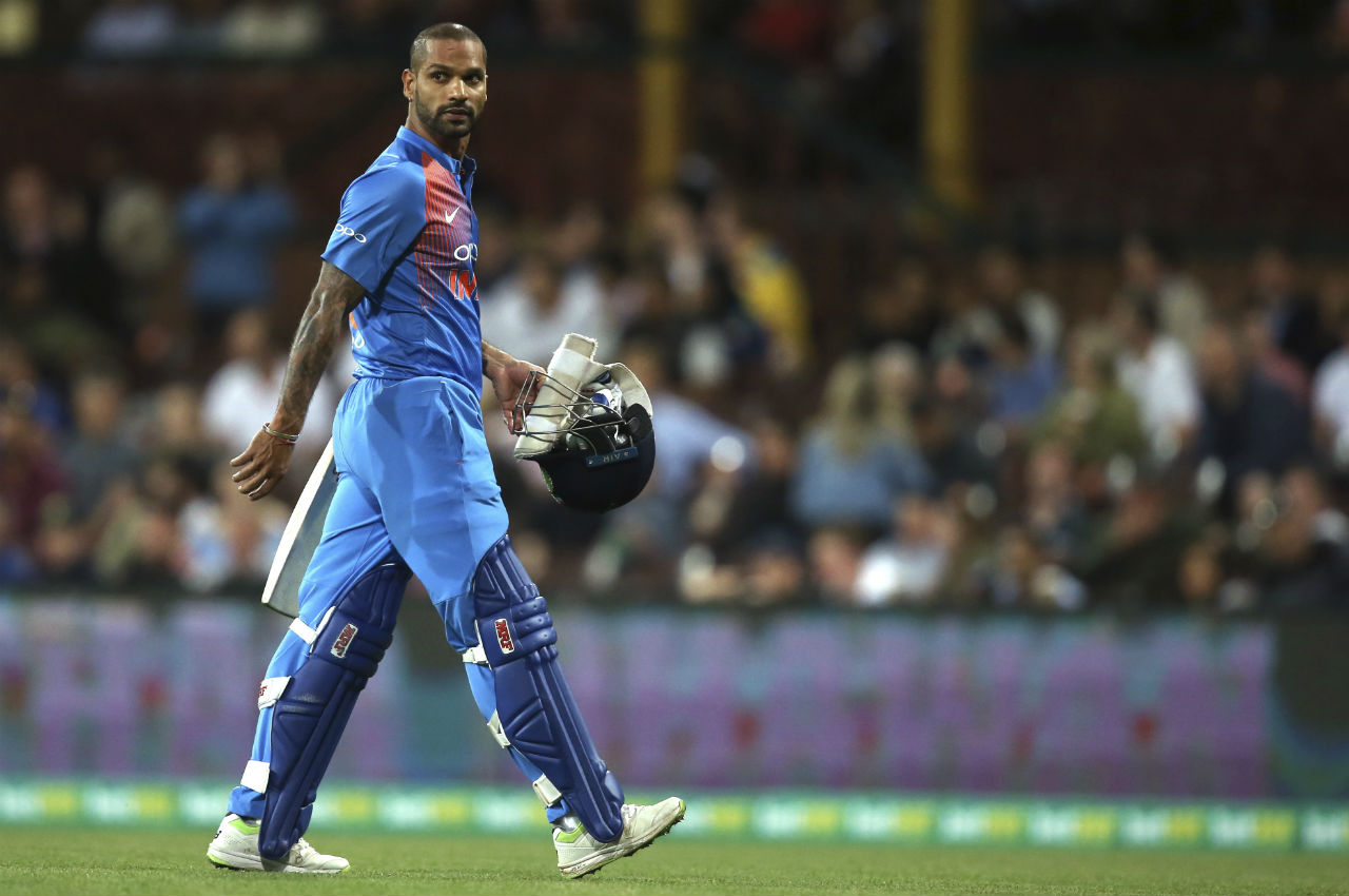 Dhawan was the first wicket to fall in Indian innings as pacer Mitchell Starc trapped him in front of the wickets. India's score at fall of Dhawan's score read 67/1. (Image: AP)