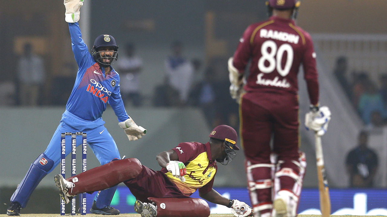 The Match kept slipping away from the Windies grip as the Indian bowlers kept chipping in with wickets. Kieron Pollard, Fabian Allen and Keemo Paul too returned without adding much to the scoreboard. (Image: AP)