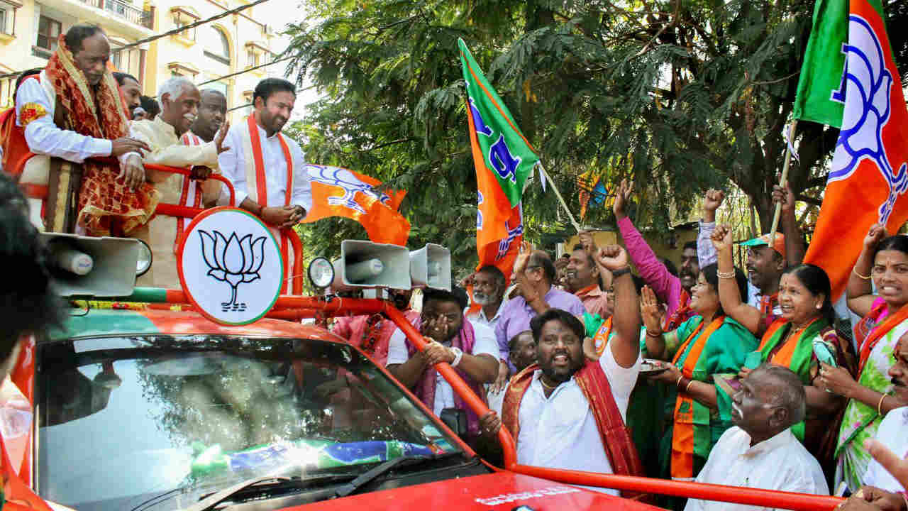 The BJP, which had five MLAs in the dissolved assembly, is looking to include one more state into its kitty | In picture: Telangana BJP President K Laxman in a rally after submitting his nomination at Musheerabad (PTI)
