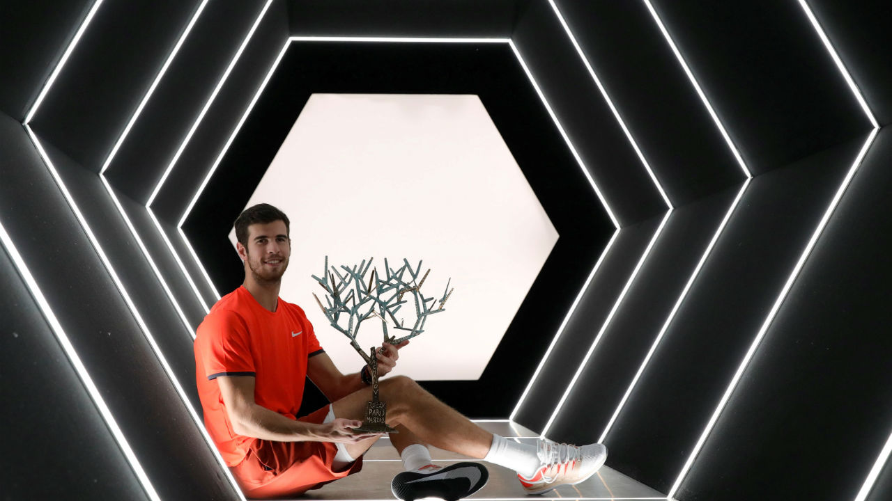 Karen Khachanov captures Paris Masters | Russia's Karen Khachanov notched one of the biggest upsets of the year after he stunned World No. 1 and four-time champion Novak Djokovic (7-5, 6-4) for the Rolex Paris Masters title. (Image: Reuters)