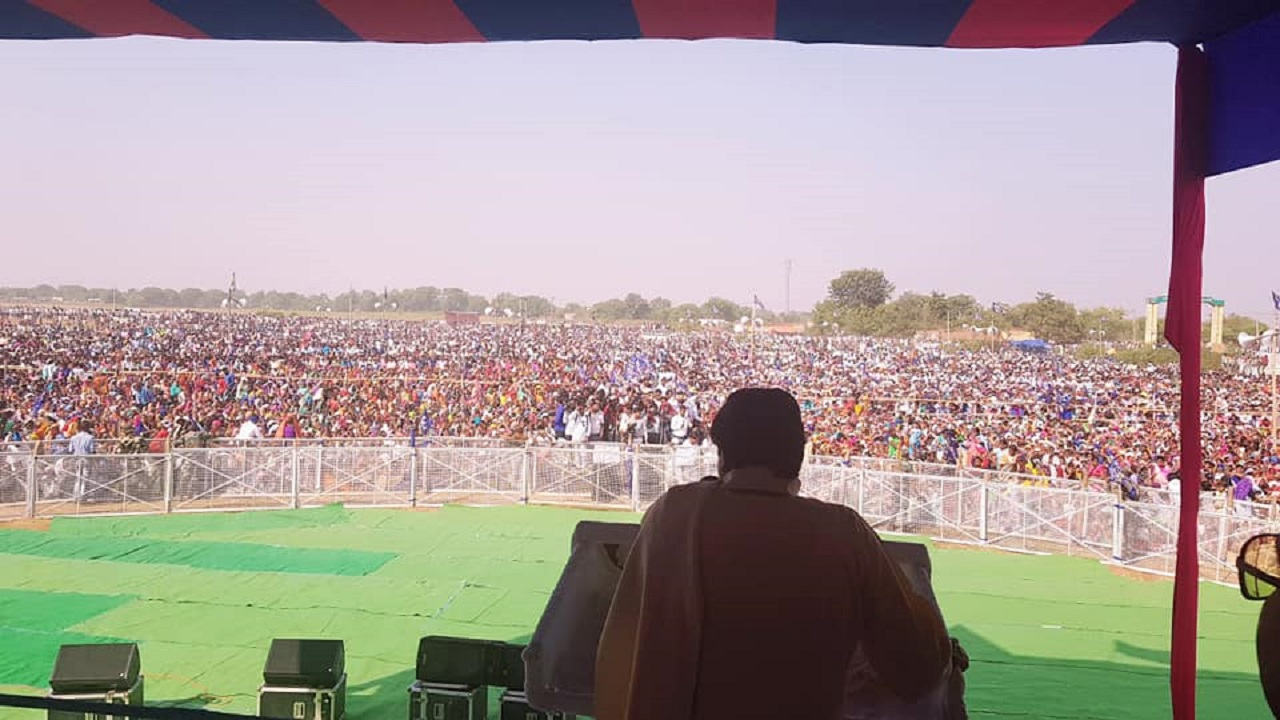 Pictured: Bahujan Samaj Party (BSP) supremo Mayawati seen addressing a crowd. Mayawati forged an alliance with Ajit Jogi-led Janta Congress Chhattisgarh, and is looking to play the role of a kingmaker in the event of a hung assembly. (Image: JCC/Facebook)