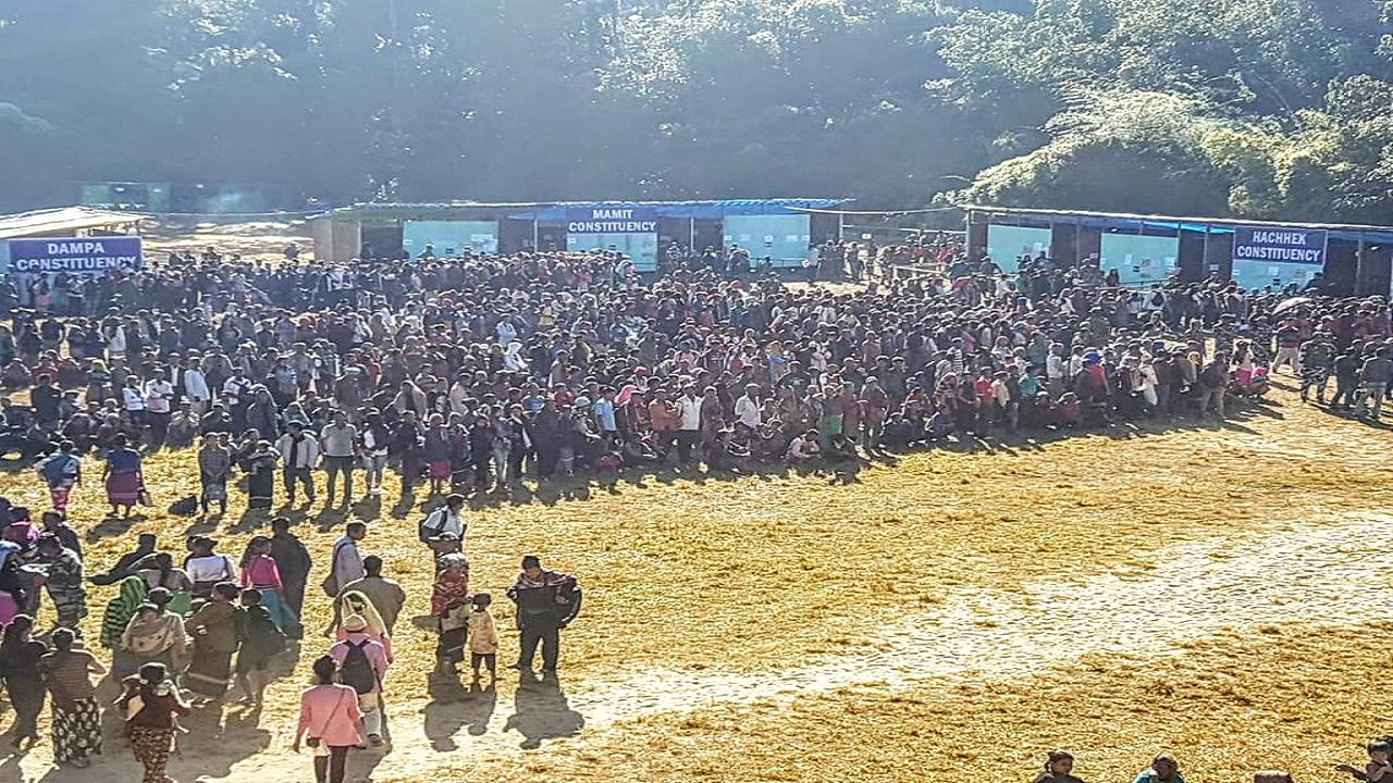Bru voters turned out in large numbers. The state witnessed intense protests by civil society groups over the place of voting for 12,026 Bru voters. The issue led to replacement of Chief Electoral Officer SB Shashank in less than two weeks before the polls. (Image: AIR News Aizawl)