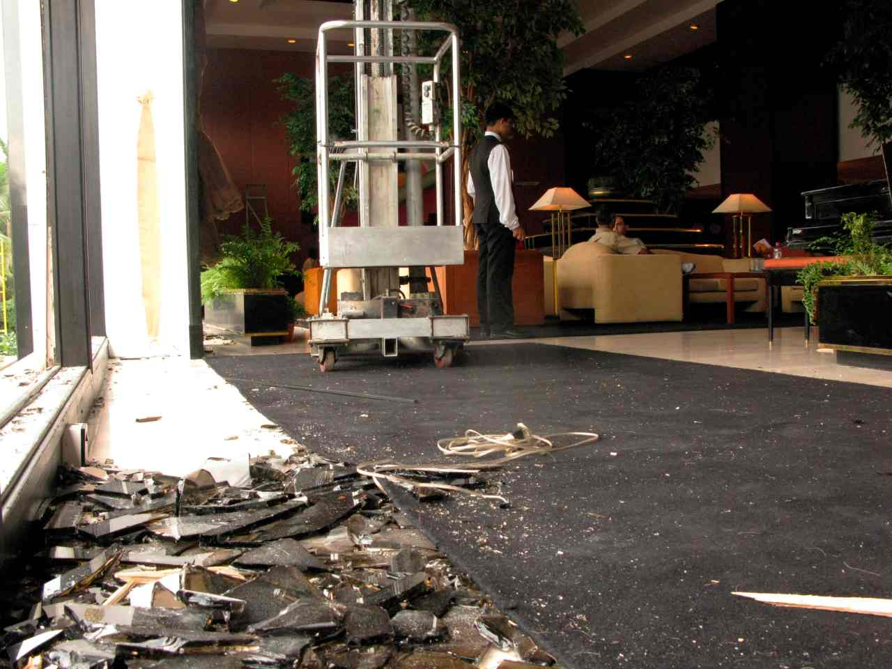 The damaged lobby of Trident-Oberoi hotel, a day-after the operations to dislodge militants ended on November 29. (Image: Reuters)