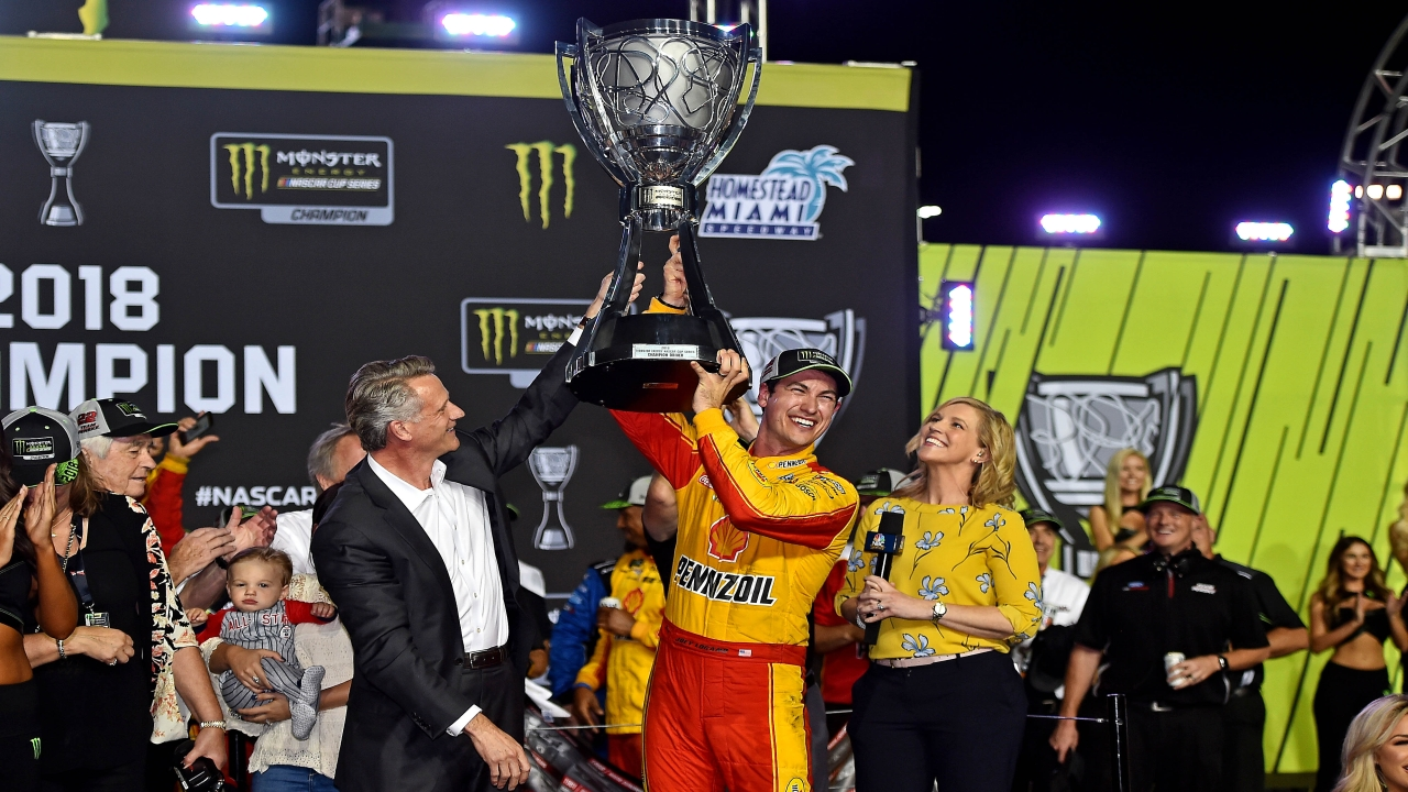 NASCAR Cup Series driver Joey Logano (22) celebrates winning the Ford EcoBoost 400 and the NASCAR Cup Series Championship at Homestead-Miami Speedway. (Image Source: Reuters)