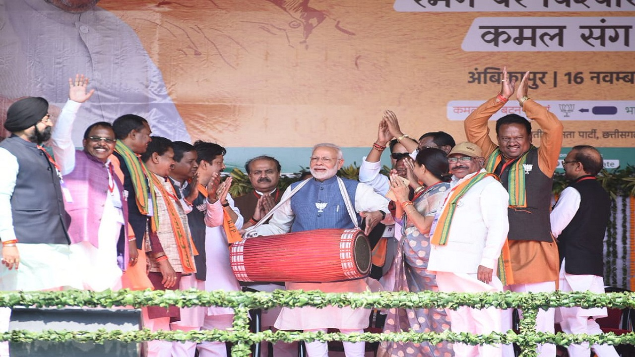 Pictured: Prime Minister Narendra Modi at a rally in Chhattisgarh. PM Modi addressed three rallies in the state, and focused on development and the 'urban Naxal' debate. (Image: BJP Chhattisgarh/Twitter)