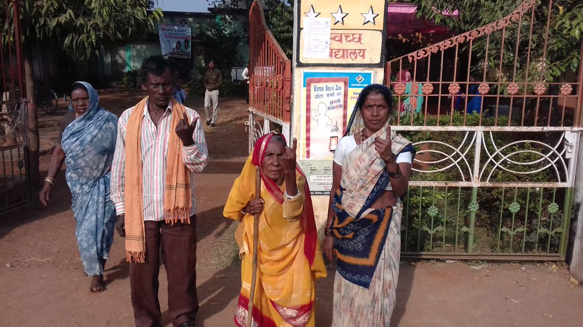 Pictured: Elderly voters in Balod district. There are 119 women contestants, while the maximum number of candidates are in Raipur city south constituency where 46 nominees are in the fray. (Image: CEO Chhattisgarh/Twitter)