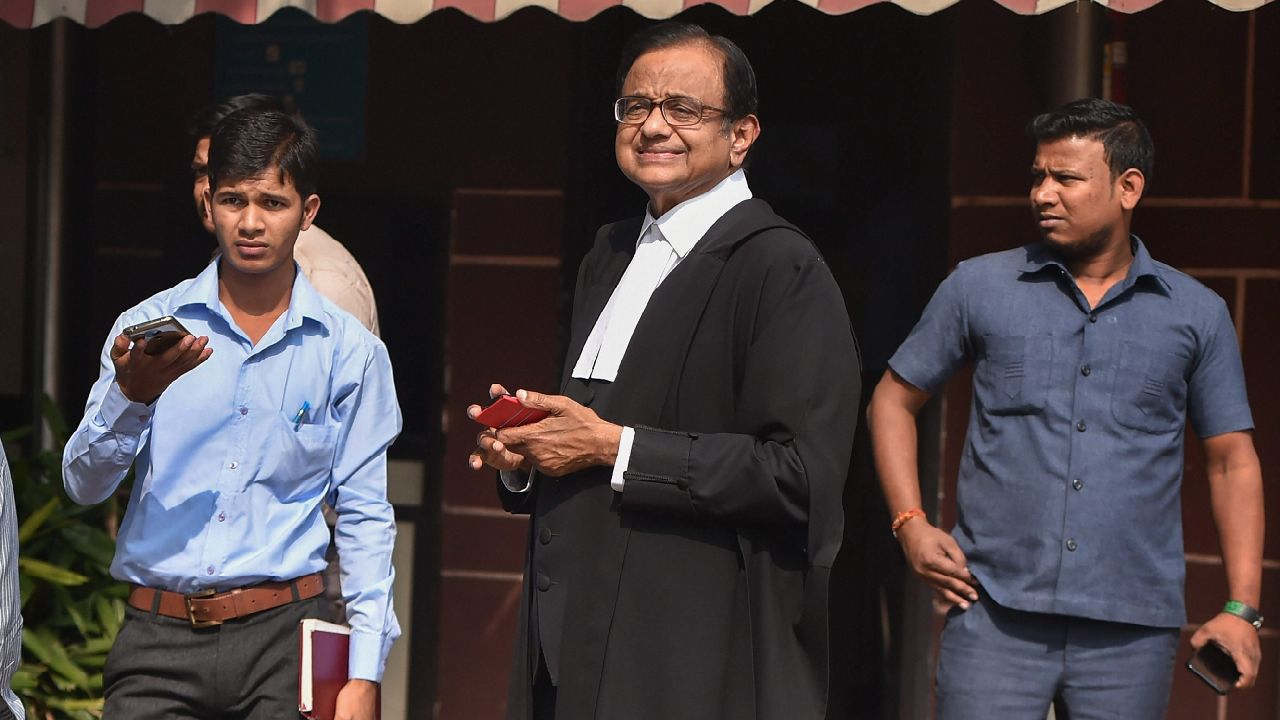 Former finance minister and Congress Party leader P Chidambaram at the Supreme Court. (Image source: PTI)