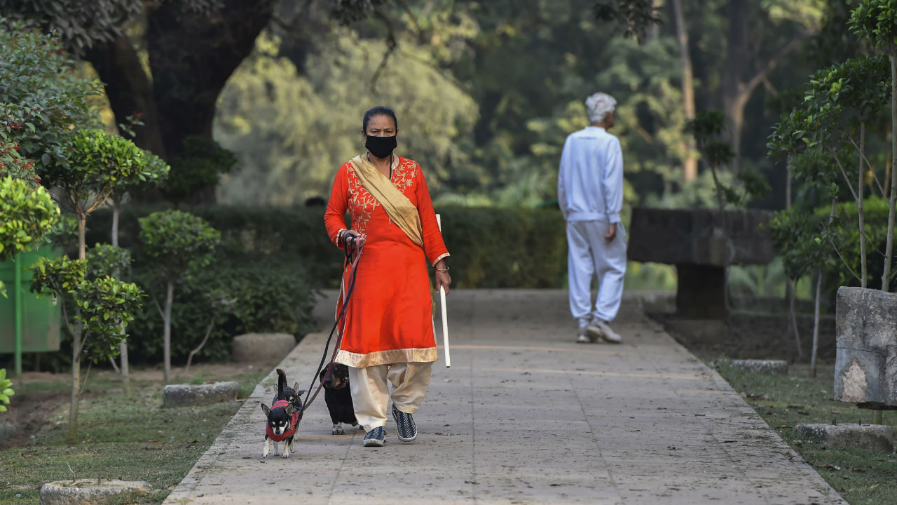 A woman wears anti-pollution mask during her morning walk at Lodhi garden in New Delhi. (Image: PTI)