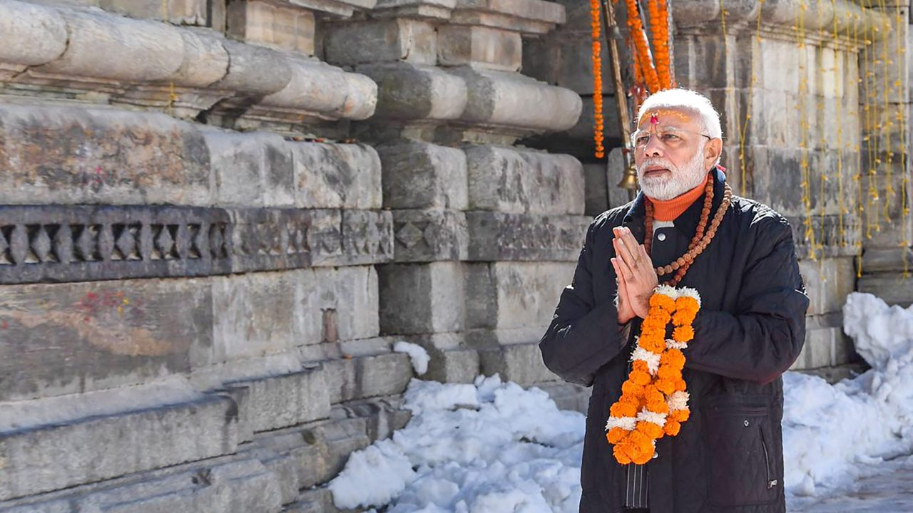 Prime Minister Narendra Modi offering prayers at Kedarnath Temple, in Uttarakhand. (Image: PTI)