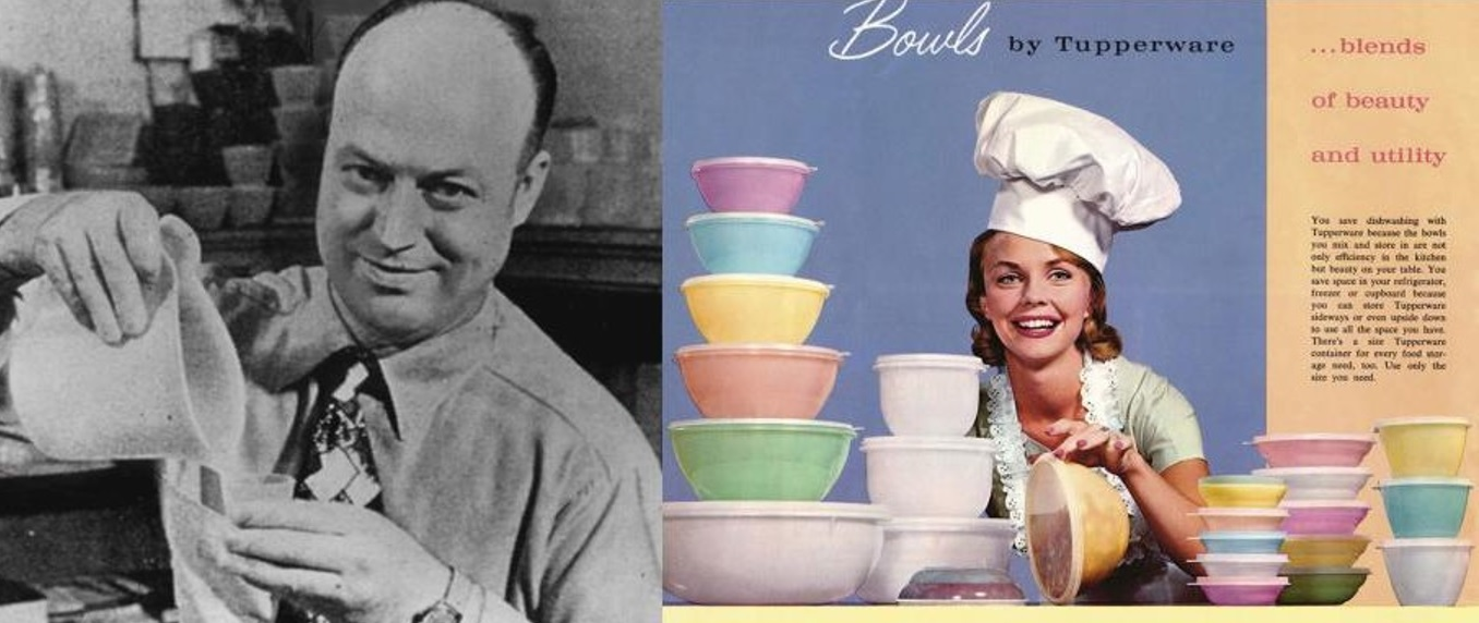 Answer: Tupperware. The man in the image was Earl Tupper. He founded the Tupperware Plastics Company in 1938.