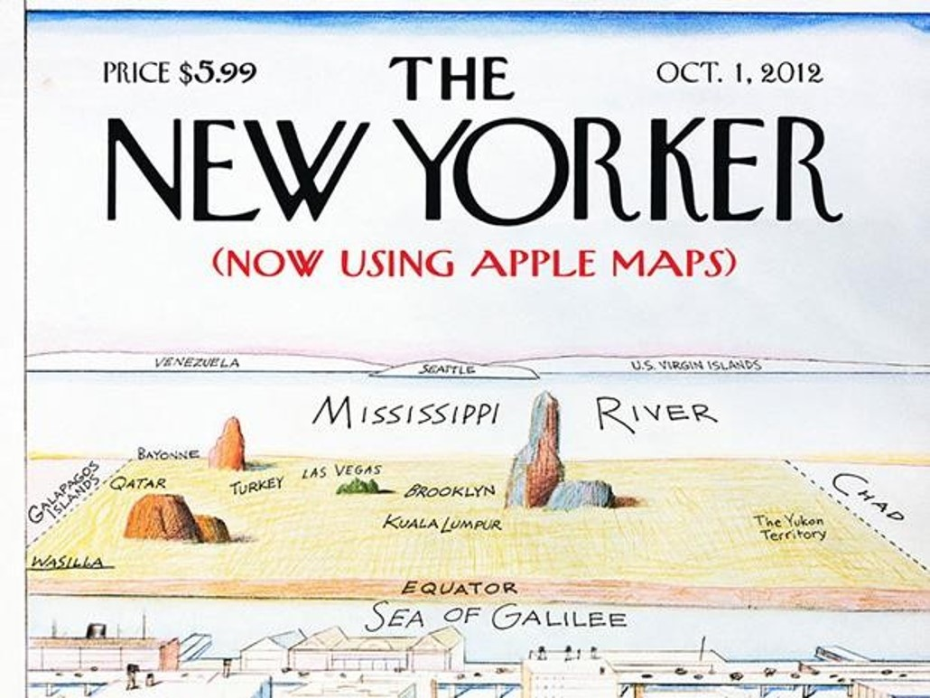 Answer: The release of Apple Maps. The work presents what View of the World might look like if one had relied upon the September 2012 version of Apple Maps to locate various landmarks.
