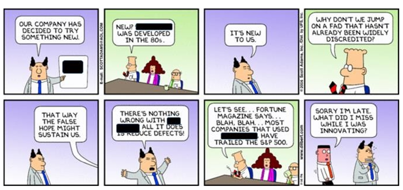 Q5. What famous methodology is being lampooned in this Dilbert cartoon?