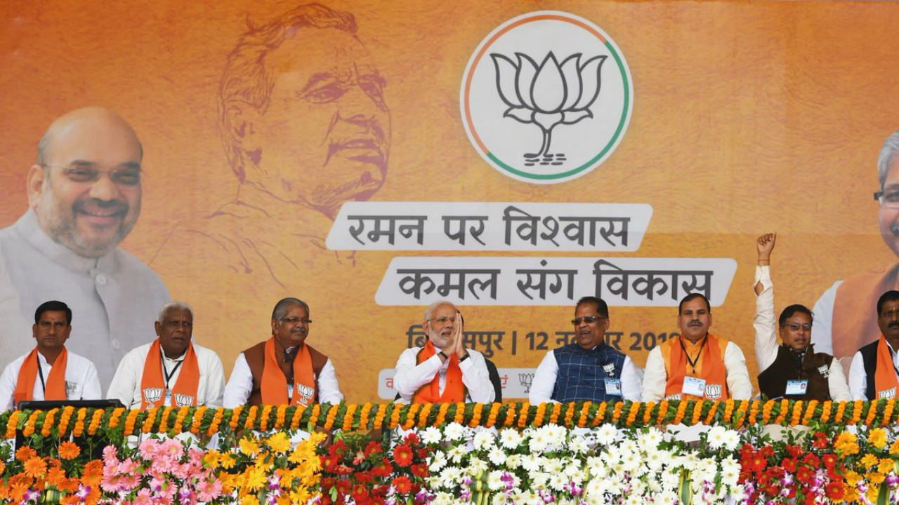 Prime Minister Narendra Modi along with other Bharatiya Janata Party (BJP) leaders during a public meeting in Bilaspur on November 12 (Image: Twitter/@narendramodi)