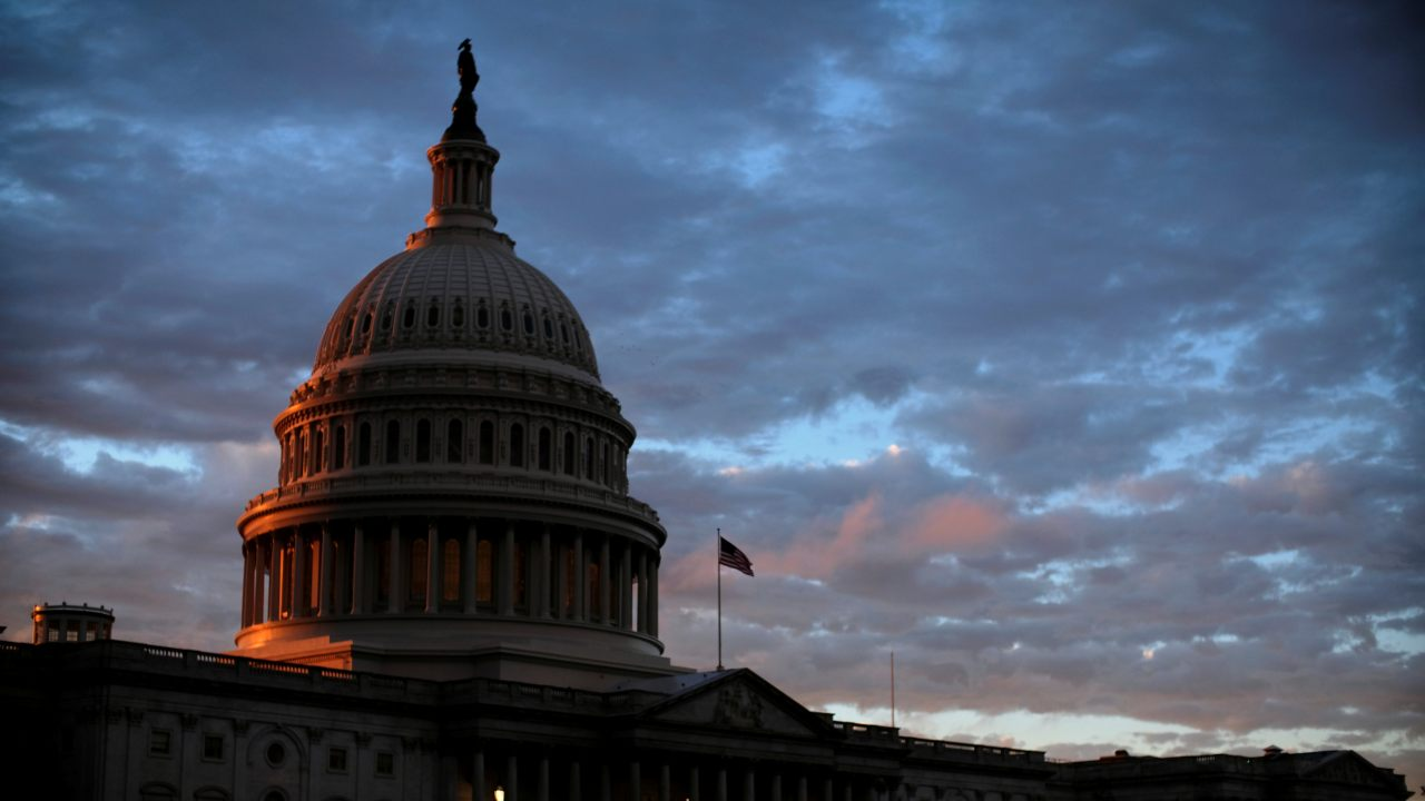 The sun sets behind the US Capitol dome in Washington, US, on midterm election day. (Image: Reuters)