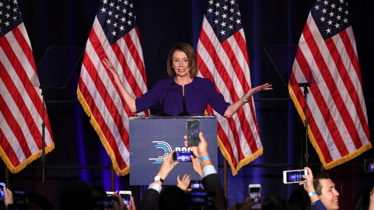 US House Minority Leader Nancy Pelosi celebrates the Democrats winning a majority in the US House of Representatives in the US midterm elections during a Democratic election night party in Washington. (Image: Reuters)