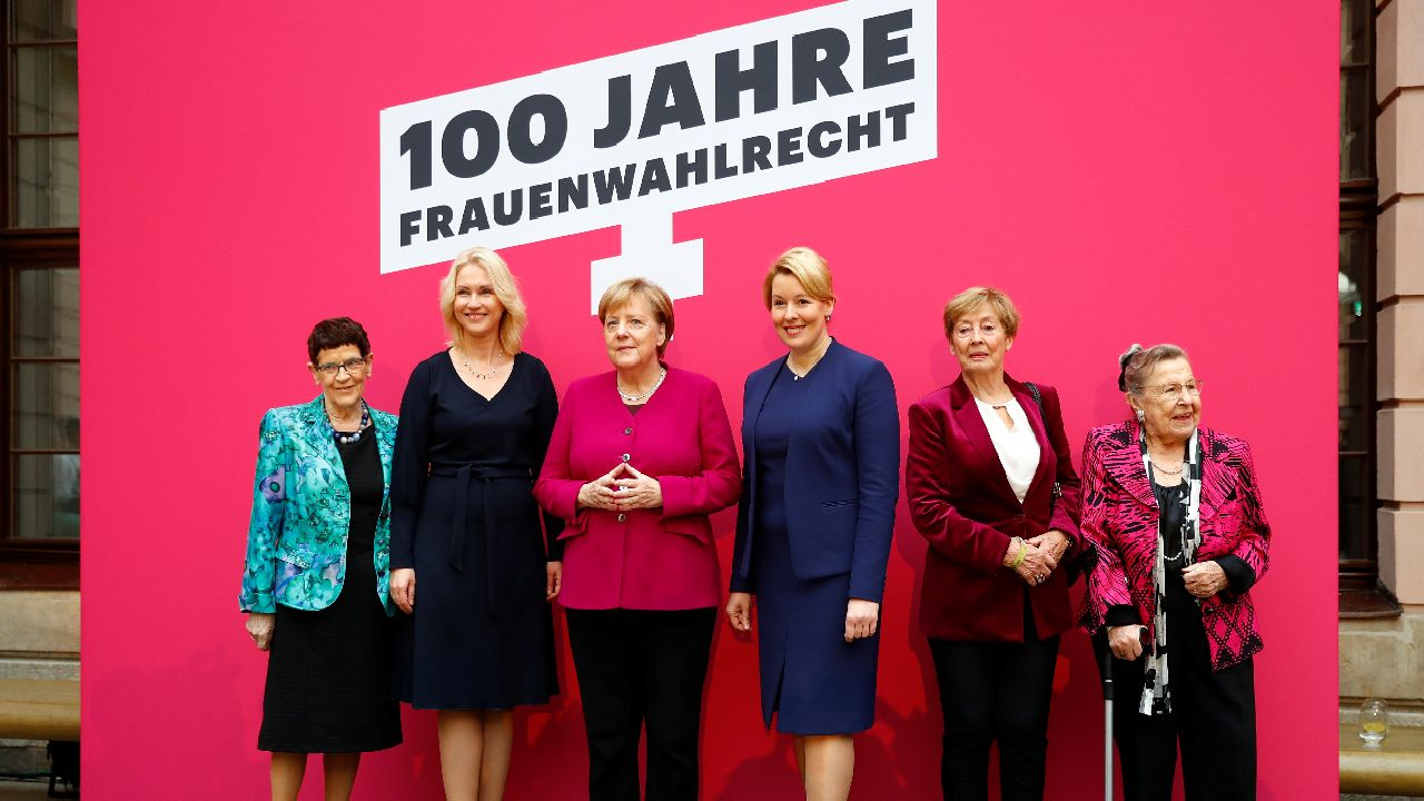 German Chancellor Angela Merkel, German Federal Minister for Family Affairs, Senior Citizens, Women and Youth Franziska Giffey, and members of the Christian Democratic Union (CDU) Ursula Lehr, Christine Bergmann, Rita Suessmuth, Manuela Schwesig pose for a group picture during an event marking 100 years of women's voting right in Germany (Image source: Reuters)