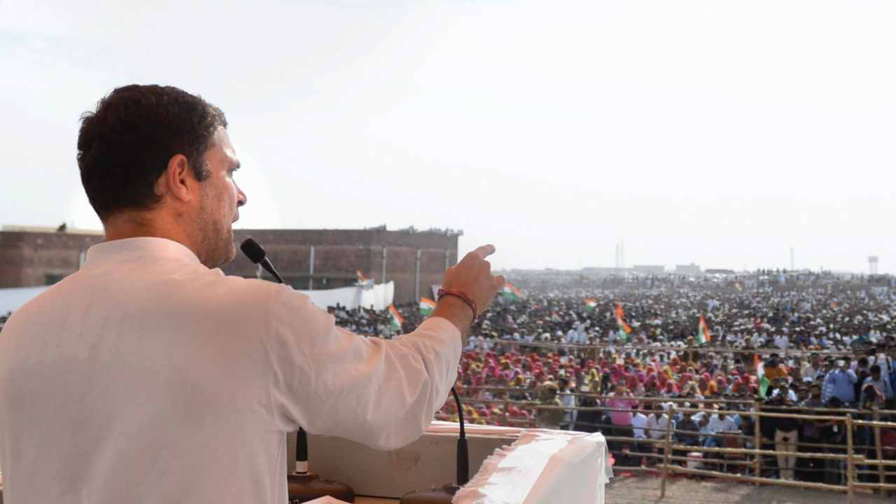 Congress President Rahul Gandhi addresses a public meeting in Pokhran, Rajasthan. (Image: PTI)