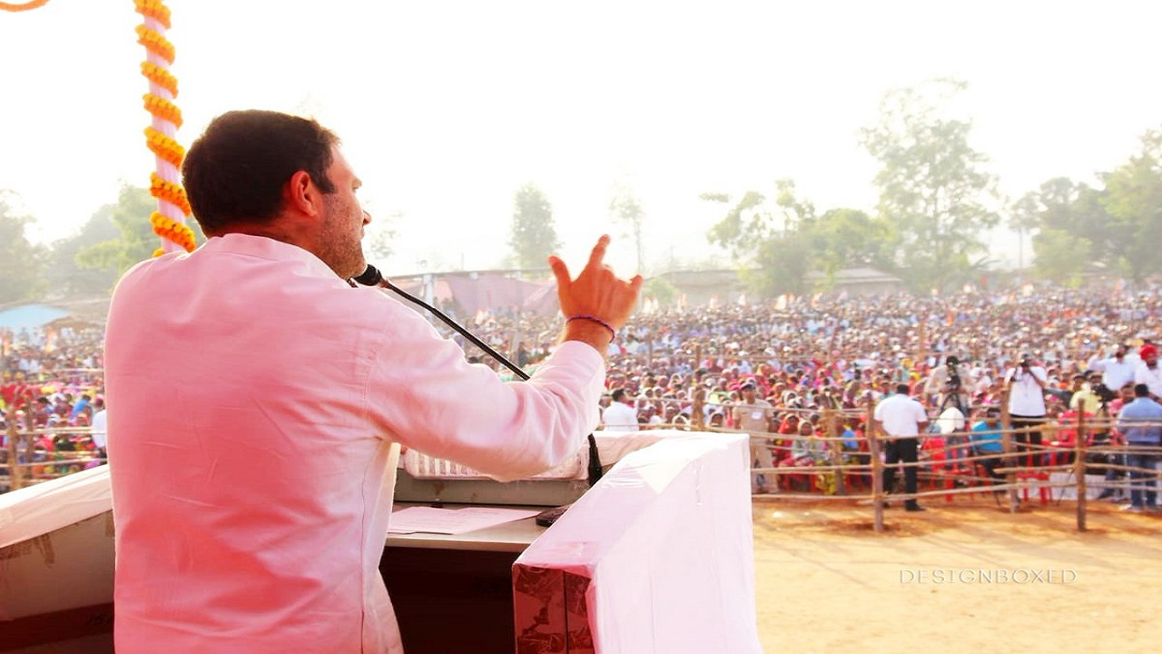 Pictured: Rahul Gandhi addressing a rally. Gandhi addressed a number of rallies in the state, and focused on the lack of development in Raman Singh-led Chhattisgarh. (Image: INC Chhattisgarh/Twitter)