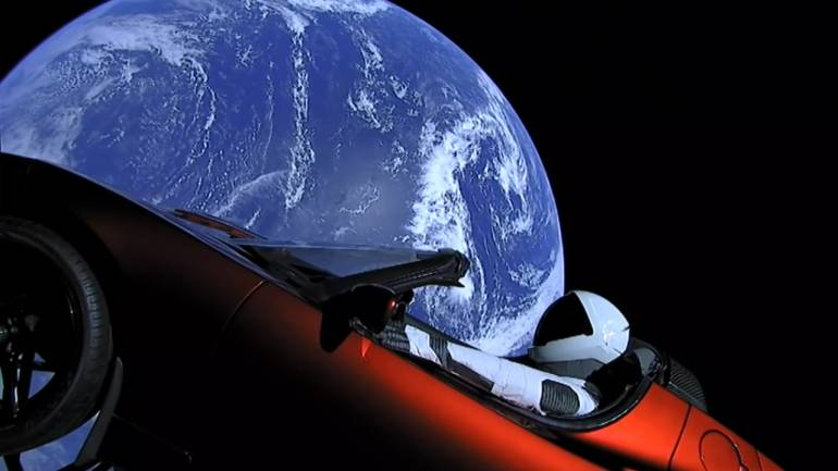 Where is roadster in space