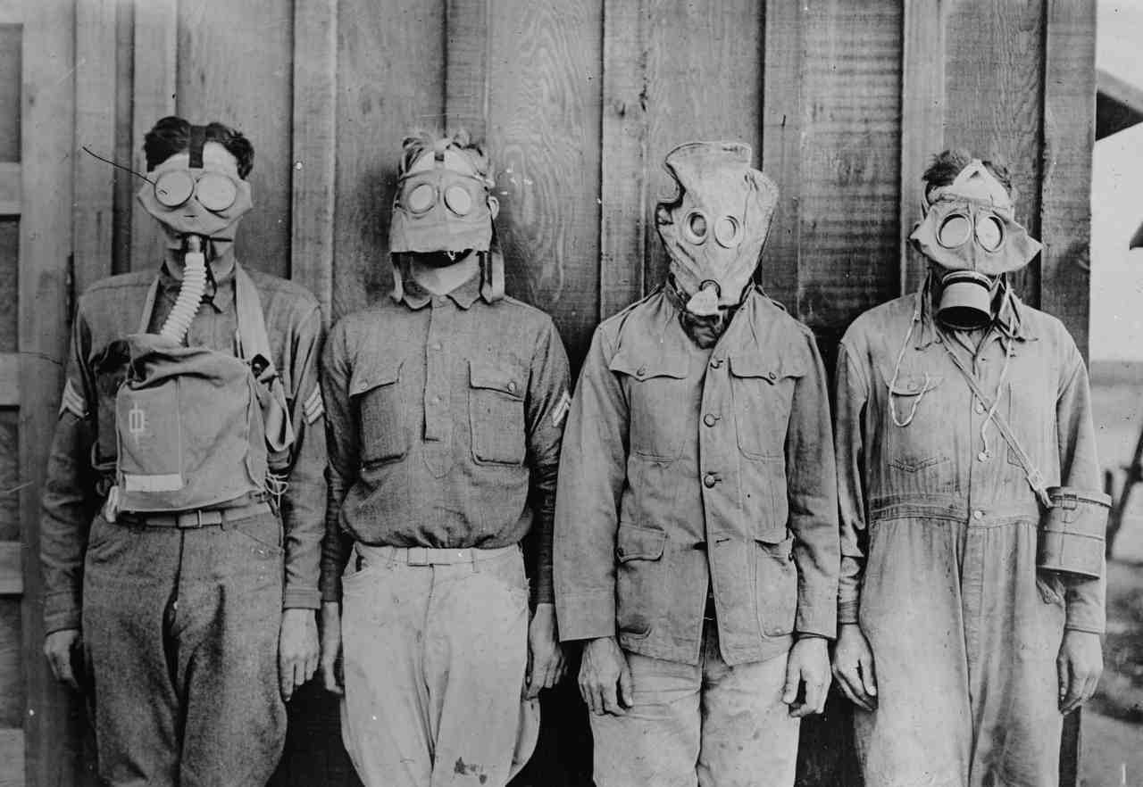 Pictured: From left to right- American, British, French, and German gas masks are seen in the picture from World War I. (Image: Reuters)