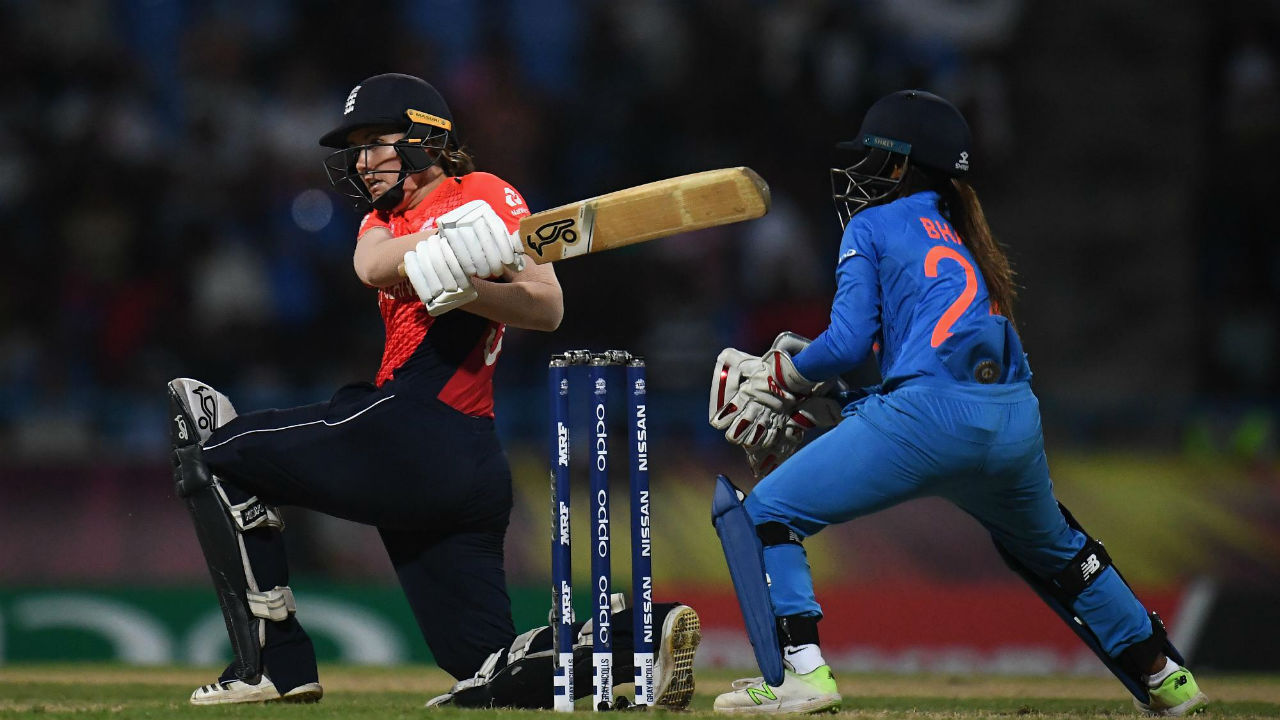 Sciver brought up her half-century in the 17th over with a boundary off Poonam Yadav. She finished with 52 runs from just 38 deliveries. (Image: Icc-cricket.com)