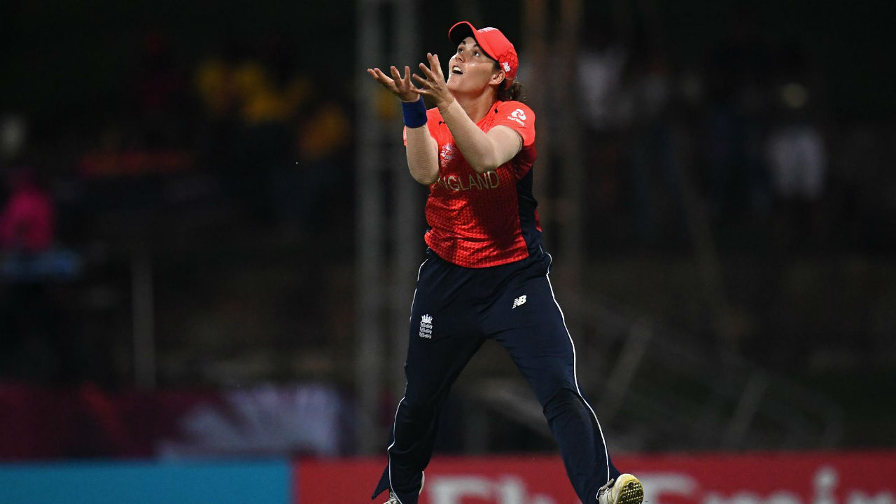 Taniya Bhatia followed Mandhana to the dug-out just 2 overs later when she found Natalie Sciver in the field while looking to hit Heather Knight out of the park. Bhatia struggled to time her shots on a slow pitch and returned with just 11 runs off 19 deliveries. (Image: Icc-cricket.com)