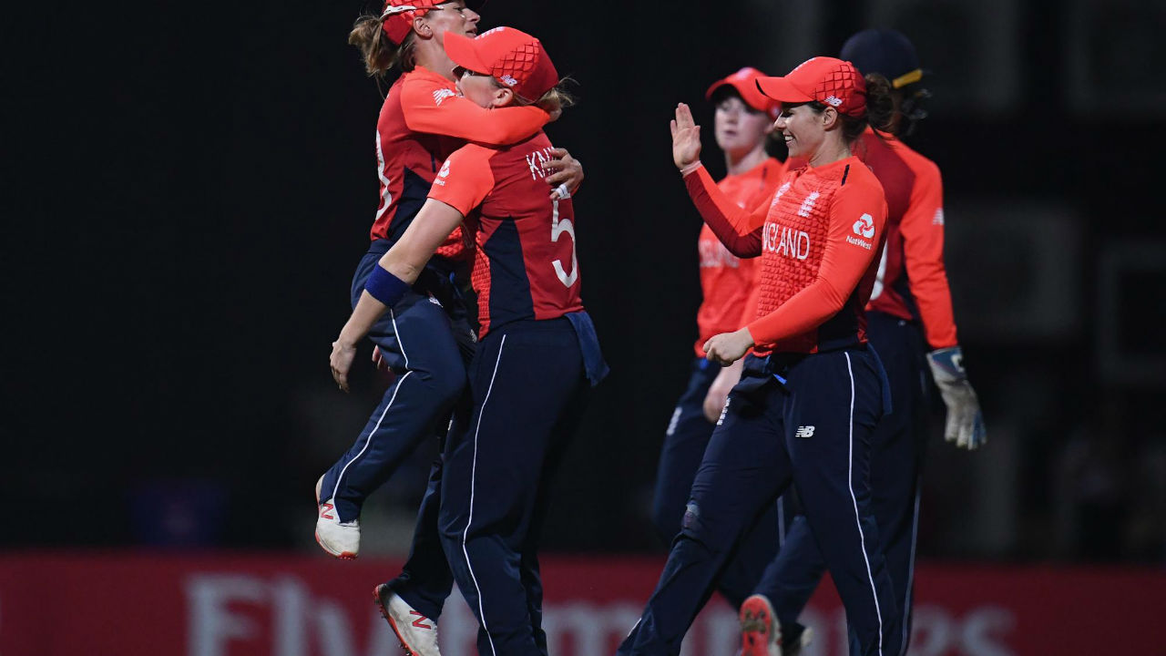 England skipper Heather Knight was the pick of the bowlers finishing with 3 wickets in 2 overs while giving away just 9 runs. Gordon and Ecclestone picked up two wickets apiece while three Indians were run-out. (Image: Icc-cricket.com)