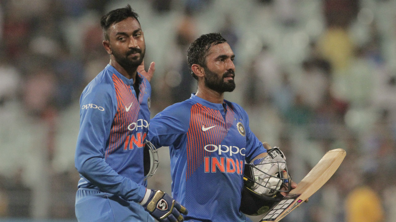 Krunal Pandya walked out to bat next and completed a fine debut scoring 21 runs off just 9 balls to take India to victory. Karthik finished as the top scorer for India with 31 off 34 balls. India sealed the win with 5 wickets to spare taking a 1-0 lead in the series. (Image: AP)