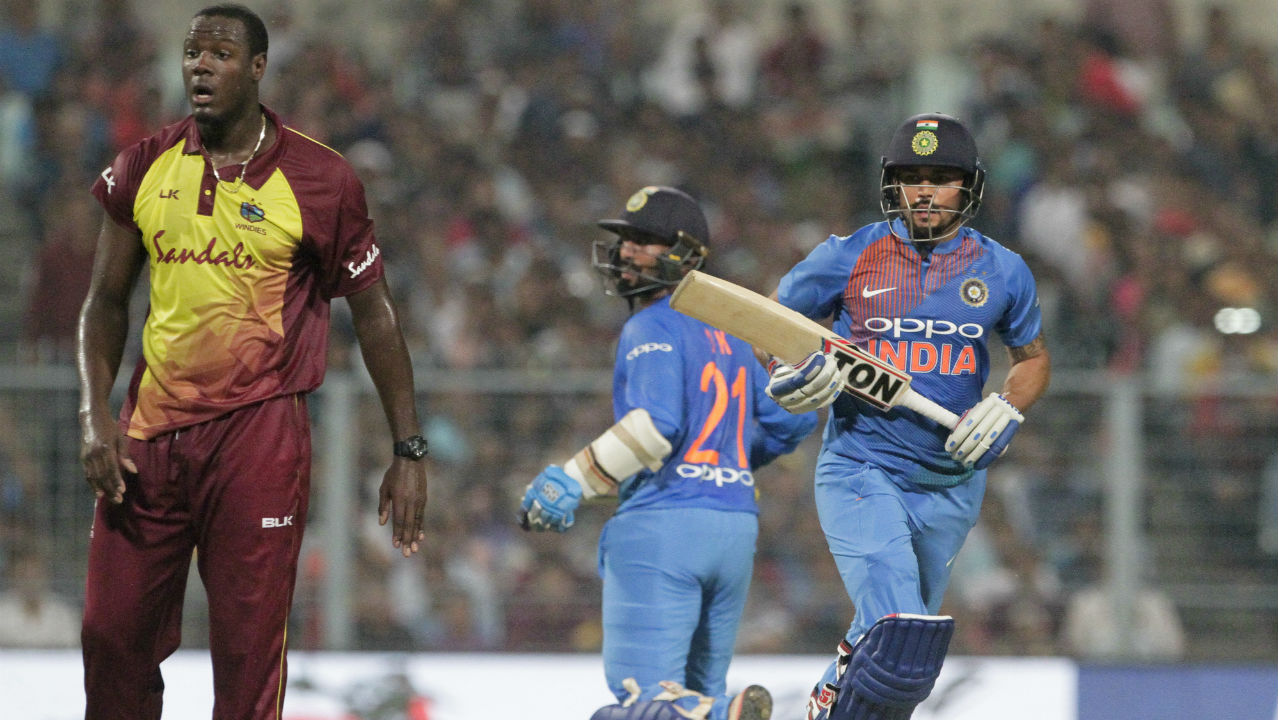 Dinesh Karthik and Manish Pandey then stitched together the longest partnership of the match, adding 38 runs for the 5th wicket. With India still needing 27 runs to win, Pandey was caught and bowled by debutant Khary Pierre in the 15th over. (Image: AP)