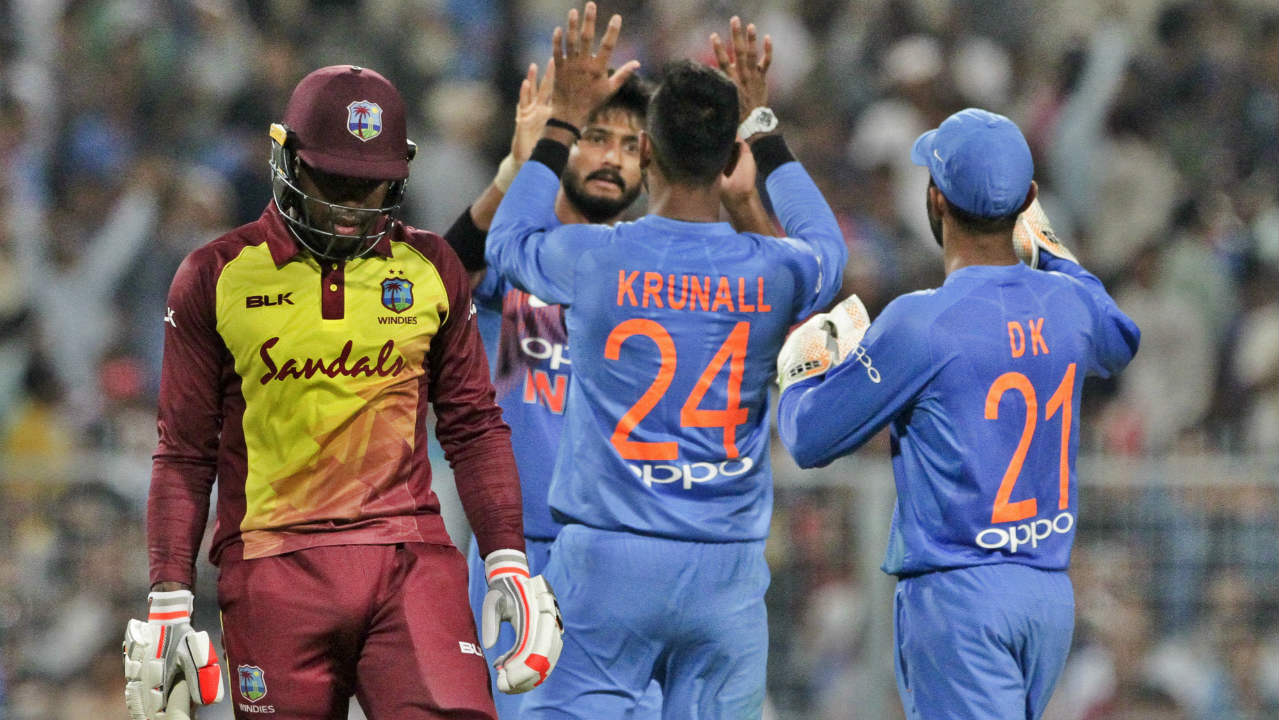 Khaleel Ahmed also picked up a wicket on debut when he got Fabian Allen caught out in the 18th over. Windies weren't allowed to get going thanks to some brilliant bowling from India and finished with just 109/8 after 20 overs. It was the Windies' lowest total against India in a T20I encounter. (Image: AP)