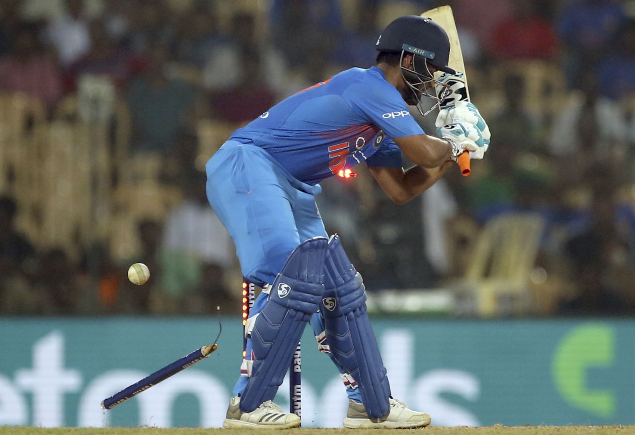 With India needing just 8 runs from the final two overs, Rishabh Pant went for a cheeky reverse-scoop and was castled in the process by Keemo Paul off the 2nd ball in the 19th over. Paul bowled a brilliant over giving away just 3 runs to set up a tense finish. (Image: AP)