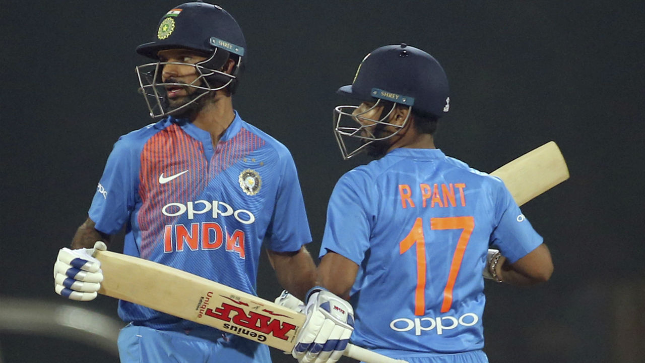 Shikhar Dhawan and Rishabh Pant then stitched together a brilliant 130-run partnership off just 80 deliveries to take India to within touching distance of victory. Dhawan brought up his first fifty of the series in the 12th over while Pant recorded his maiden T20I fifty when he reached the landmark in the 16th over. (Image: AP)