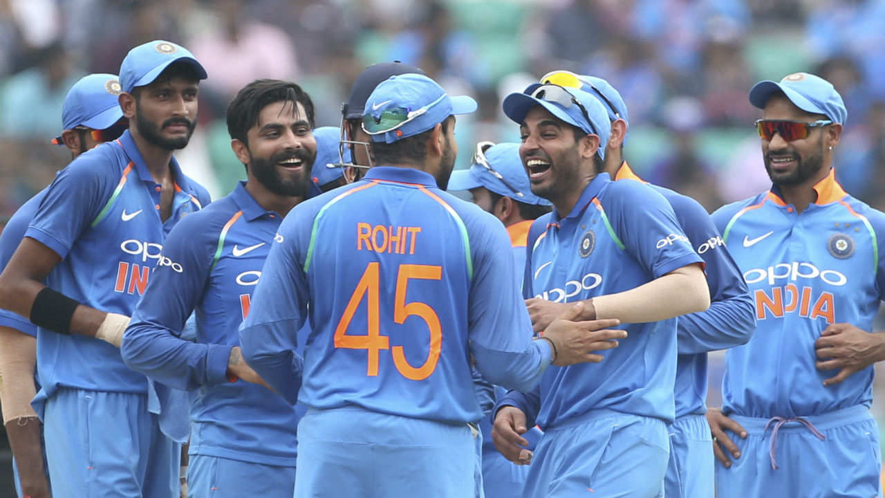 After a mammoth 224-run victory in Mumbai, India came into the fifth and final ODI looking to seal a series win. Jason Holder won the toss and opted to bat. Windies made two changes to their side with Devendra Bishoo and Oshane Thomas replacing Chandrapaul Hemraj and Ashley Nurse. India named an unchanged playing XI for the match. (Image: AP)