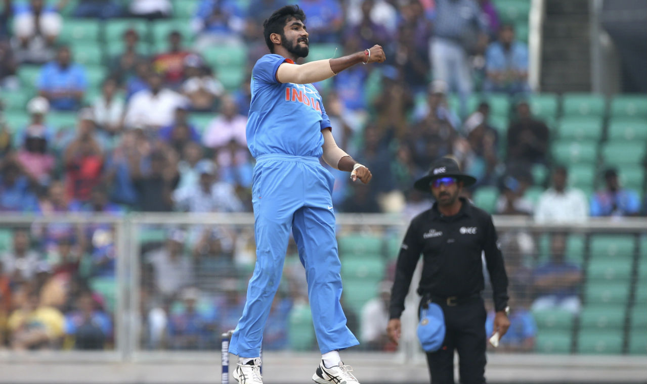 India's pace duo of Jasprit Bumrah and Bhuvneshwar Kumar gave the hosts a perfect start. Bhuvneshwar got Kieran Powell caught behind in the 1st over and Bumrah castled Shai Hope for a duck in the very next over. (Image: AP)