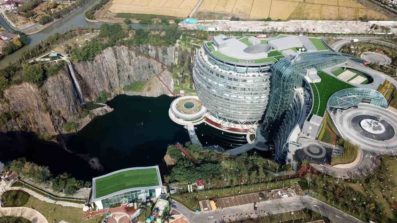 Shanghai unveiled the world's first underground hotel, the InterContinental Shanghai Wonderland, buried 90 metres deep in an old quarry. (Image: AP)