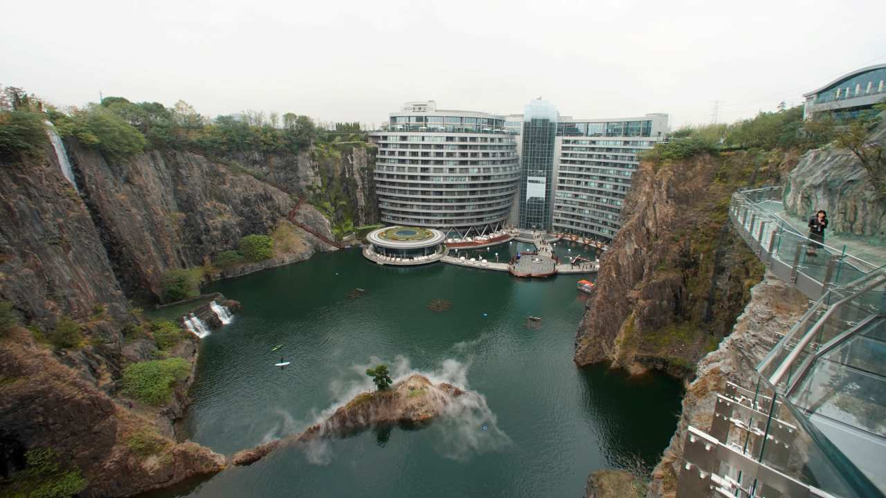 The 18-storey luxury hotel is almost entirely subterranean having two floors above ground and the rest underground. The bottom two floors of the hotel are underwater. (Image: Reuters)