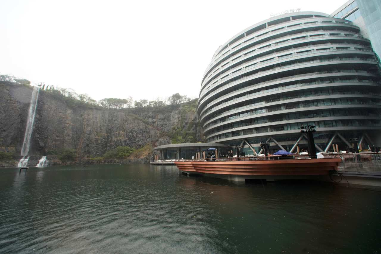 A night at the InterContinental Shanghai Wonderland will set you back by $489-$546 dollars. Apart from the alluring beauty, the hotel also offers extreme adventures such as kayaking, rock climbing and walking across the glass-floor skywalk. (Image: Reuters)