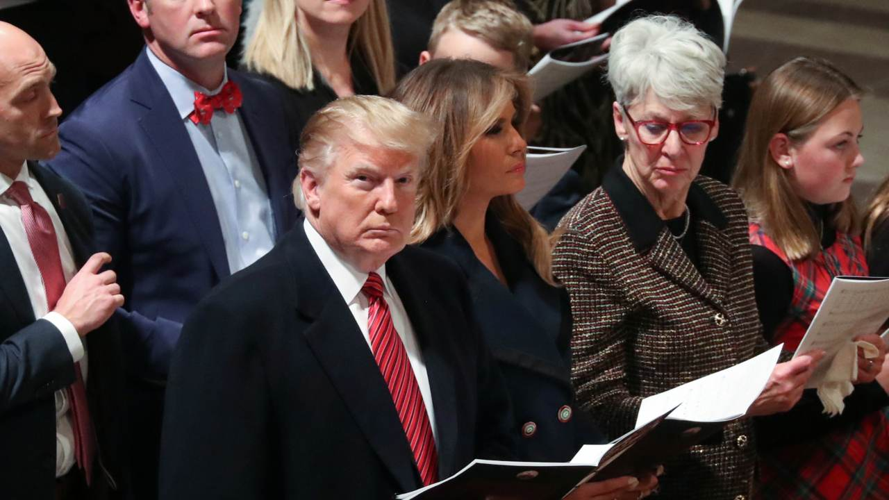U.S. President Donald Trump and first lady Melania Trump attend a Christmas Eve church service at the National Cathedral in Washington. (Image: REUTERS)