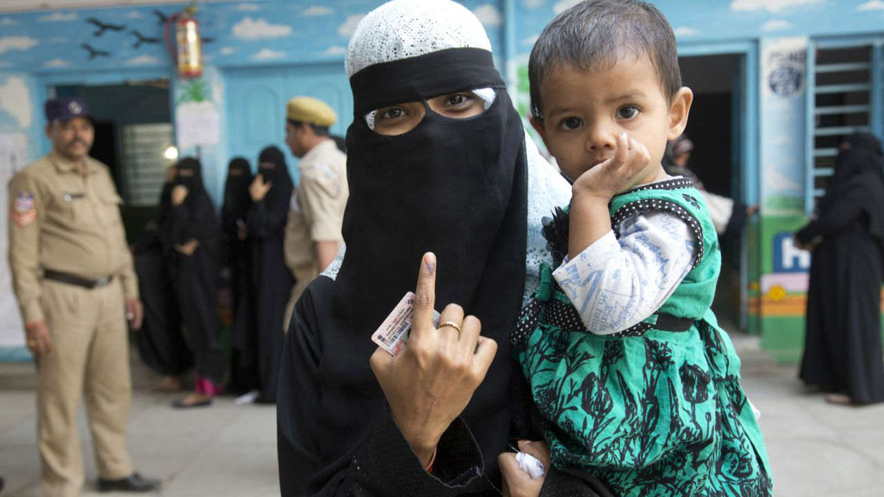 A woman after casting her vote in Hyderabad. (Image: AP)