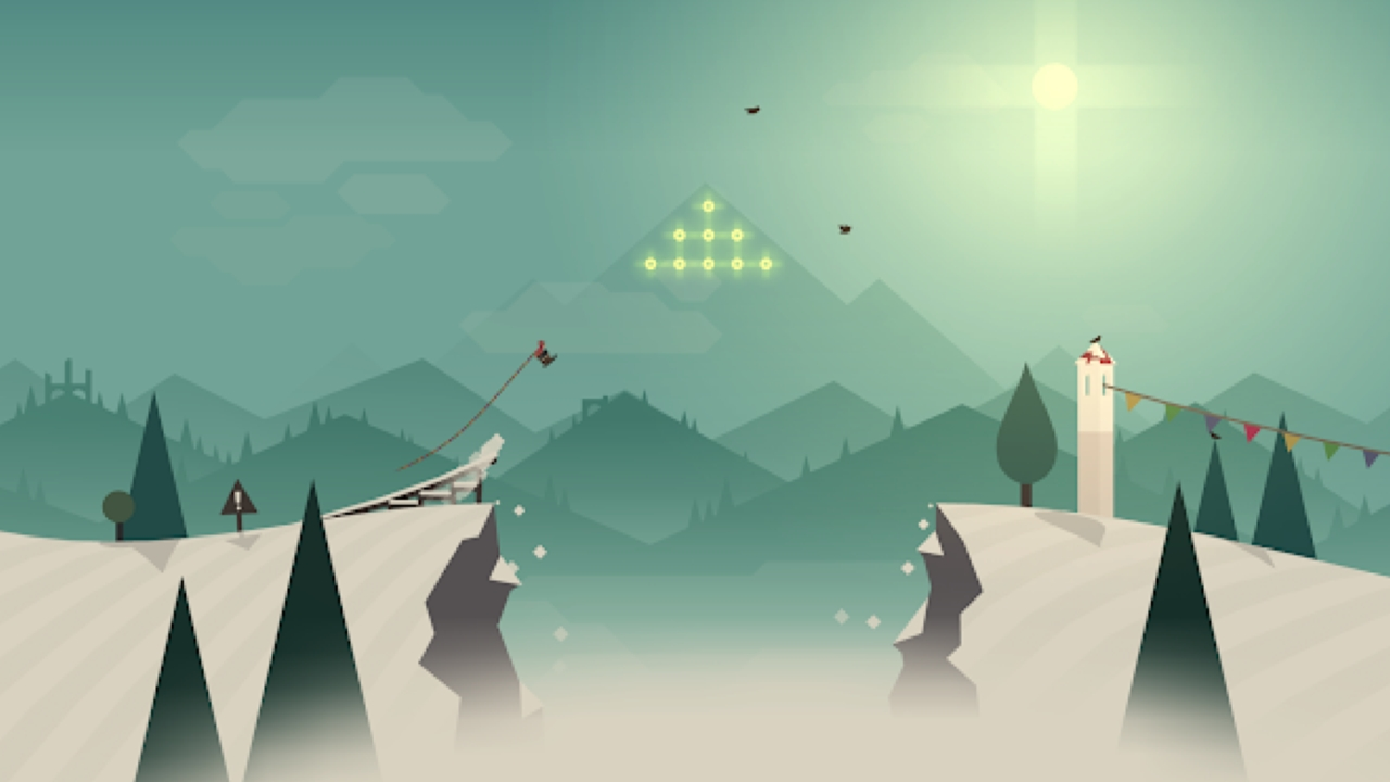 Alto's Adventure | Snowman | Alto's Adventure is an endless runner snowboarding game developed by Snowman. In the high-speed game, the central character, Alto, embarks on a snowboarding journey braving elements and challenges while sliding and performing backflips. The game features physics-based gameplay with minimal yet fluid graphics. (Image: Snowman)