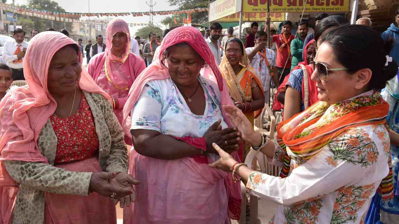 BJP candidate Siddhi Kumari during an election campaign in Bikaner. (Image: PTI)